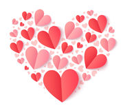 Vector heart shape filled with folded paper red and pink hearts Royalty Free Stock Image