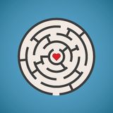 Vector heart shape maze concept Stock Photography