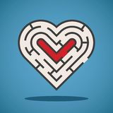 Vector heart shape maze concept Stock Photo