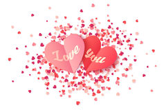 Vector heart shape paper valentines with sign Love You on pink and red confetti Stock Photography
