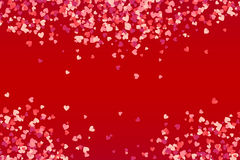 Vector heart shape pink confetti on red background. Vector heart shape pink confetti on dark red background Stock Photos