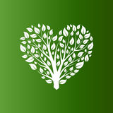 Vector heart shape tree on green background Royalty Free Stock Photography