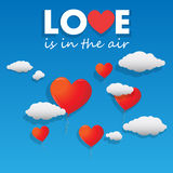 Vector heart shaped balloons flying over the sky Stock Image