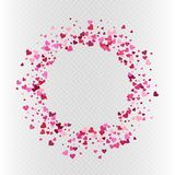 Vector heart shaped colorful pink confetti round frame. Vector Valentine`s day heart shaped colorful pink confetti frame decoration Royalty Free Stock Image