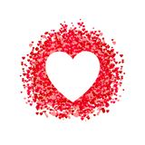 VECTOR heart shaped frame, heart shape confetti, pile of hearts, romantic background, pink and red paper hearts. White Background vector illustration