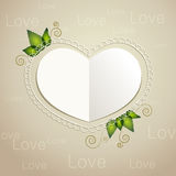 Vector heart shaped paper card Royalty Free Stock Images