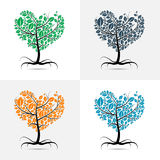 Vector heart shaped tree. With roots set Royalty Free Stock Photos