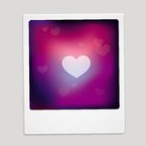 Vector heart sign on polaroid frame Royalty Free Stock Photos