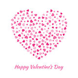 Vector Heart with small pink Hearts Valentines Day Card Background. Royalty Free Stock Photography
