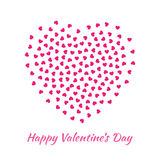 Vector Heart with small pink Hearts Valentines Day card Background. Stock Images
