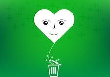 Vector heart smile balloon plus trash. Vector heart smile balloon plus with trash Stock Photo