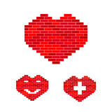 Vector heart of stone set. Vector heart of bricks. Set with heart, smile and pedic symbol. Creative concept for industry of health and medicine problems and Stock Image