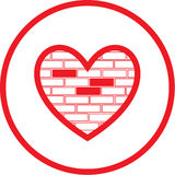Vector heart and stone wall icon Royalty Free Stock Photos
