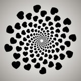 Vector heart. Swirl, vortex background. Rotating spiral. Pattern of a whirling of hearts Royalty Free Stock Image