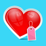Vector Heart Symbol with Empty Label Royalty Free Stock Photo