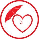 Vector heart and umbrella icon Stock Image
