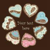 Vector heart for Valentine's Day design. Vector heart illustration for Valentine's Day design. The glazed Cookies Heart Stock Photos