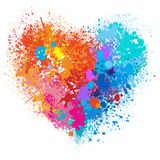 Vector heart in warm and cold colors. Made of spray and drops grunge background Royalty Free Stock Photography