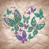 Vector Heart With Butterfly On Craft Paper Royalty Free Stock Images