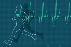vector heartbeat electrocardiogram and running man Royalty Free Stock Photo