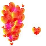 Vector hearts. Background from hearts in yellow , pink and red colors Stock Photography