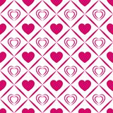 Vector hearts background. Valentine`s Day seamless pattern. Abstract template texture. Bright pink love hearts icons. Wave elemen. Ts. Wrapping paper, clothes stock illustration