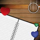 Vector hearts decoration background on wood desk Royalty Free Stock Photos