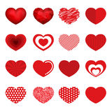 Vector hearts design set 16 style for Valentine day Stock Photos
