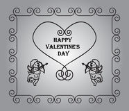 Vector hearts, frame of doodles. Background with sample text - happy Valentine's Day Stock Photos