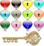 Vector hearts (golden) Stock Photo