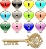 Vector hearts (golden) Stock Photo