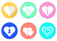 Vector hearts icon set with colorful Stock Images