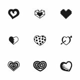 Vector hearts icon set. On white background Stock Photo