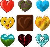 Vector hearts icons. Different hearts set on white background Stock Image