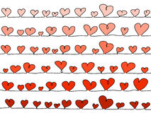 Vector hearts, in a line as background Stock Photo