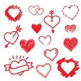 Vector hearts love set. Hand drawn. Stock Image