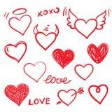 Vector hearts love set. Hand drawn. Stock Photography