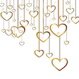 Vector hearts pendants. Golden hearts hanging with chain on White background Stock Photos