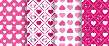 Vector hearts seamless patterns collection. Repeated texture. Valentine`s Day backgrounds set. Beautiful love hearts. Bright pink stock illustration