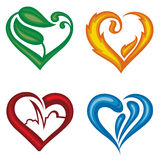Vector hearts set. Set of four different icons of hearts Stock Image