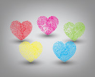 Vector hearts set. Coloful Fingerprint heart set on white background Royalty Free Stock Photography