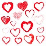 Vector hearts set. Hand drawn. Stock Photos