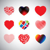 Vector hearts set of hand drawn abstract icons Royalty Free Stock Images