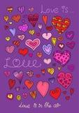 Vector hearts set. Hand drawn. Stock Photo