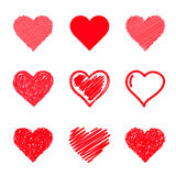 Vector hearts set. Hand drawn. Stock Image