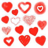 Vector hearts set. Hand drawn. Royalty Free Stock Images