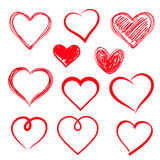 Vector hearts set. Hand drawn. Royalty Free Stock Photo