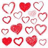 Vector hearts set. Hand drawn. Royalty Free Stock Photo
