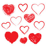 Vector hearts set. Hand drawn. Royalty Free Stock Image