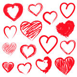 Vector hearts set. Hand drawn. Stock Photos